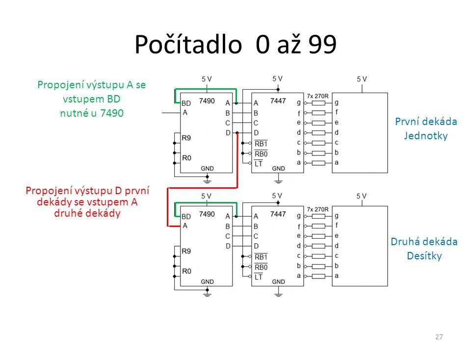 Počítadlo 0 až 99 Propojení výstupu A se vstupem BD nutné u 7490