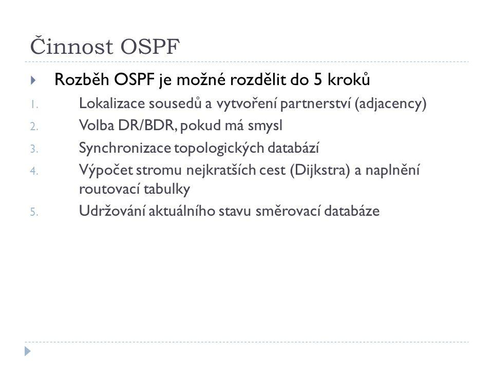 Činnost OSPF Rozběh OSPF je možné rozdělit do 5 kroků