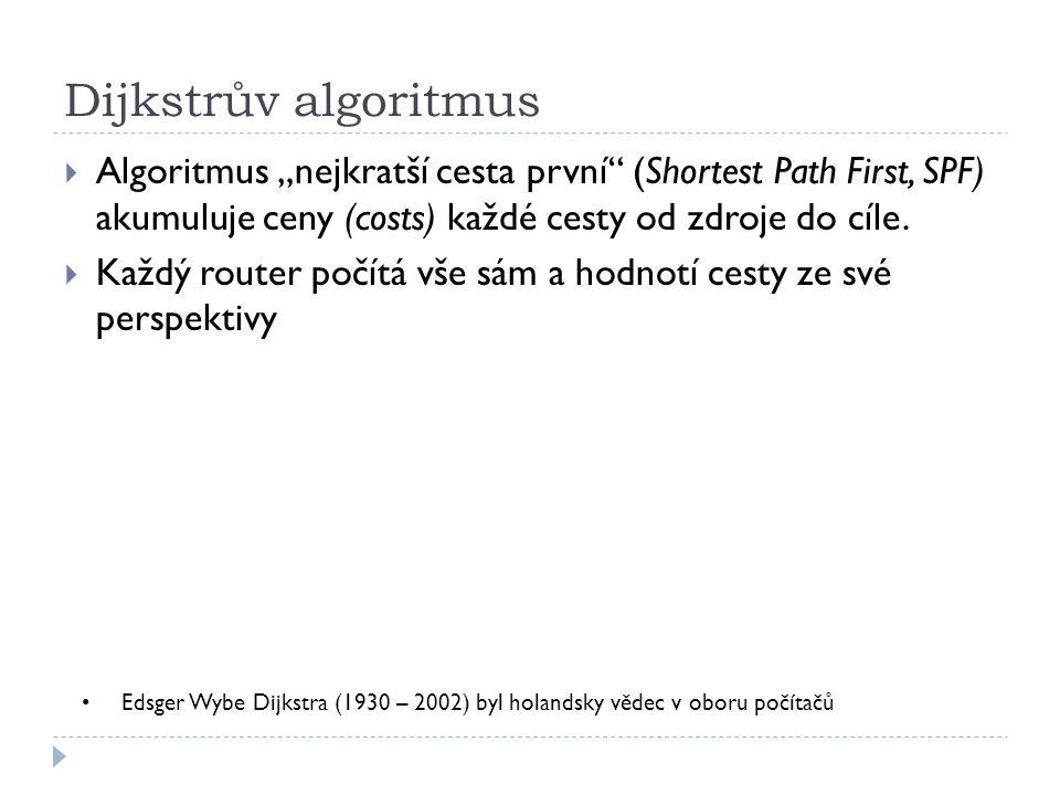 """Dijkstrův algoritmus Algoritmus """"nejkratší cesta první (Shortest Path First, SPF) akumuluje ceny (costs) každé cesty od zdroje do cíle."""