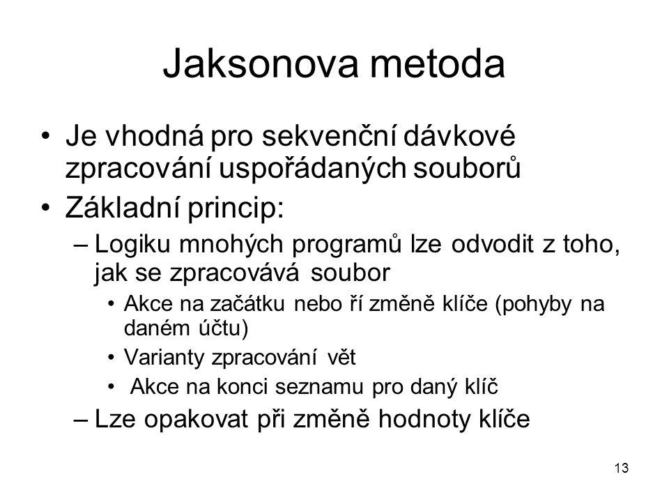 Jaksonova metoda Je vhodná pro sekvenční dávkové zpracování uspořádaných souborů. Základní princip: