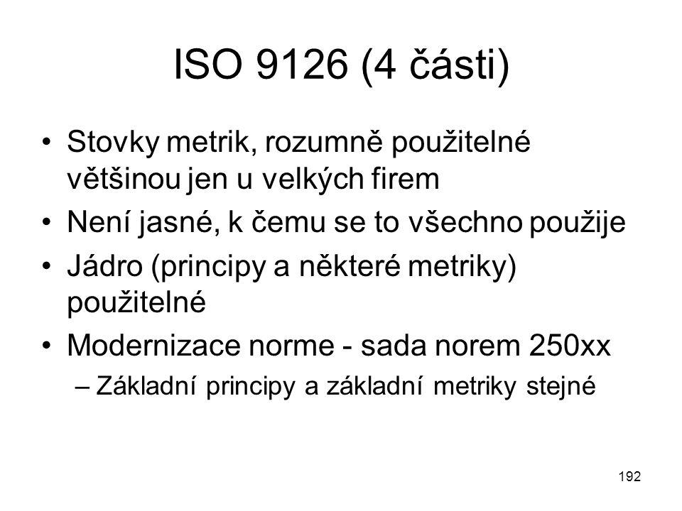 ISO 9126 (4 části) Stovky metrik, rozumně použitelné většinou jen u velkých firem. Není jasné, k čemu se to všechno použije.