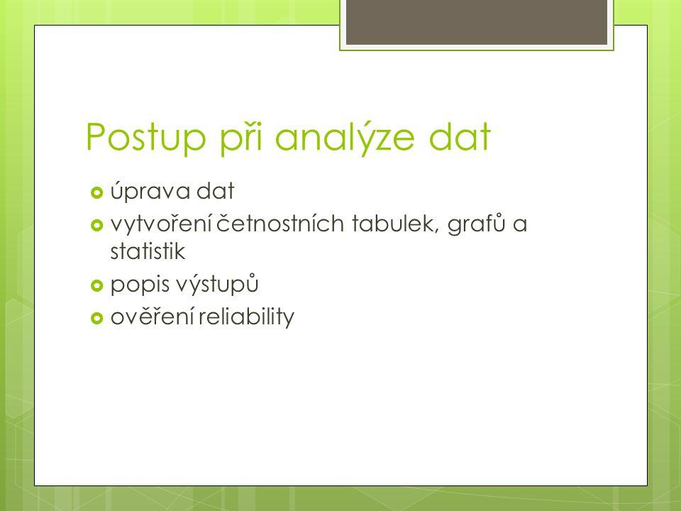 Postup při analýze dat úprava dat