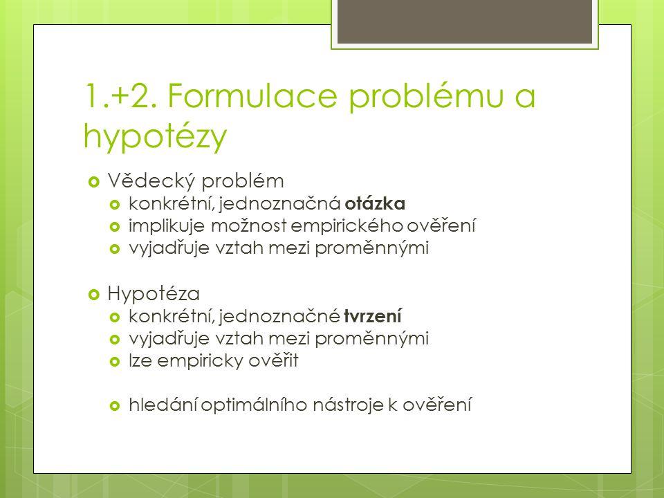 1.+2. Formulace problému a hypotézy