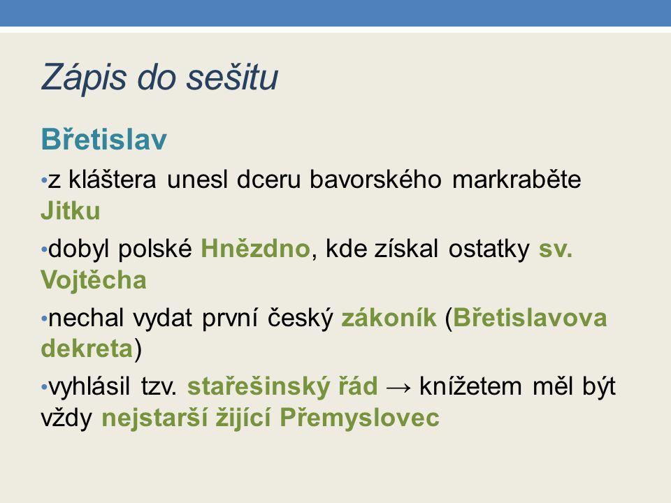 Zápis do sešitu Břetislav
