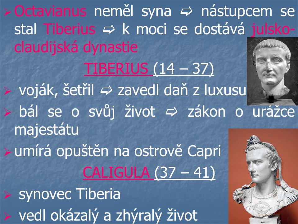 Octavianus neměl syna  nástupcem se stal Tiberius  k moci se dostává julsko-claudijská dynastie