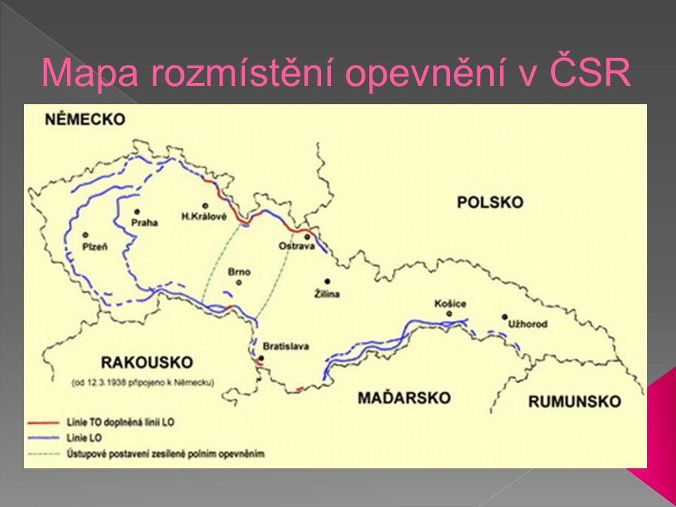 Mapa rozmístění opevnění v ČSR