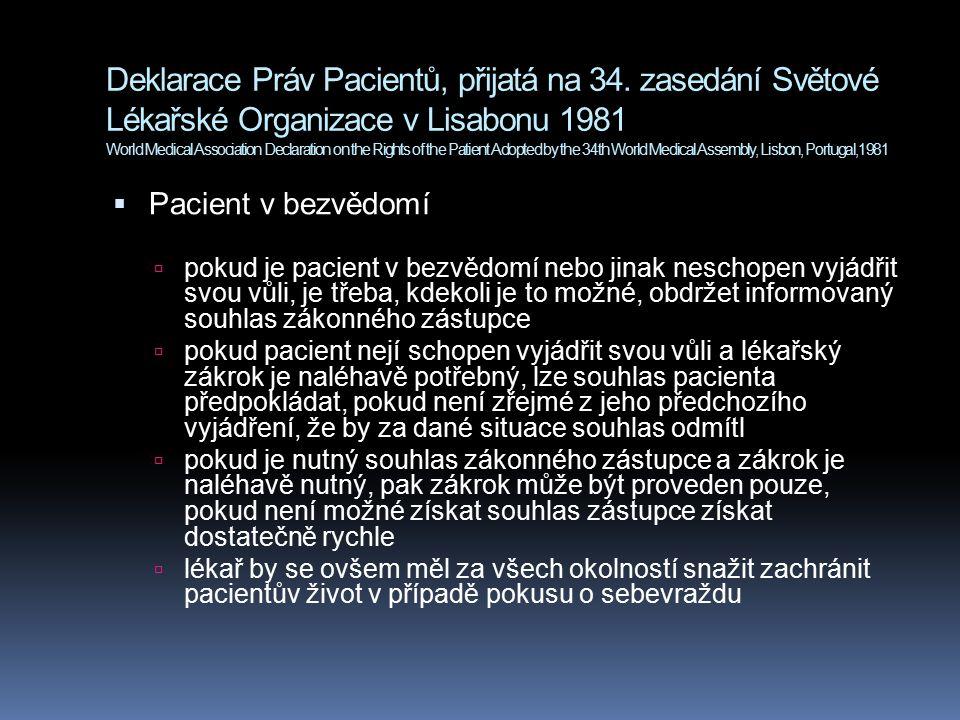 Deklarace Práv Pacientů, přijatá na 34