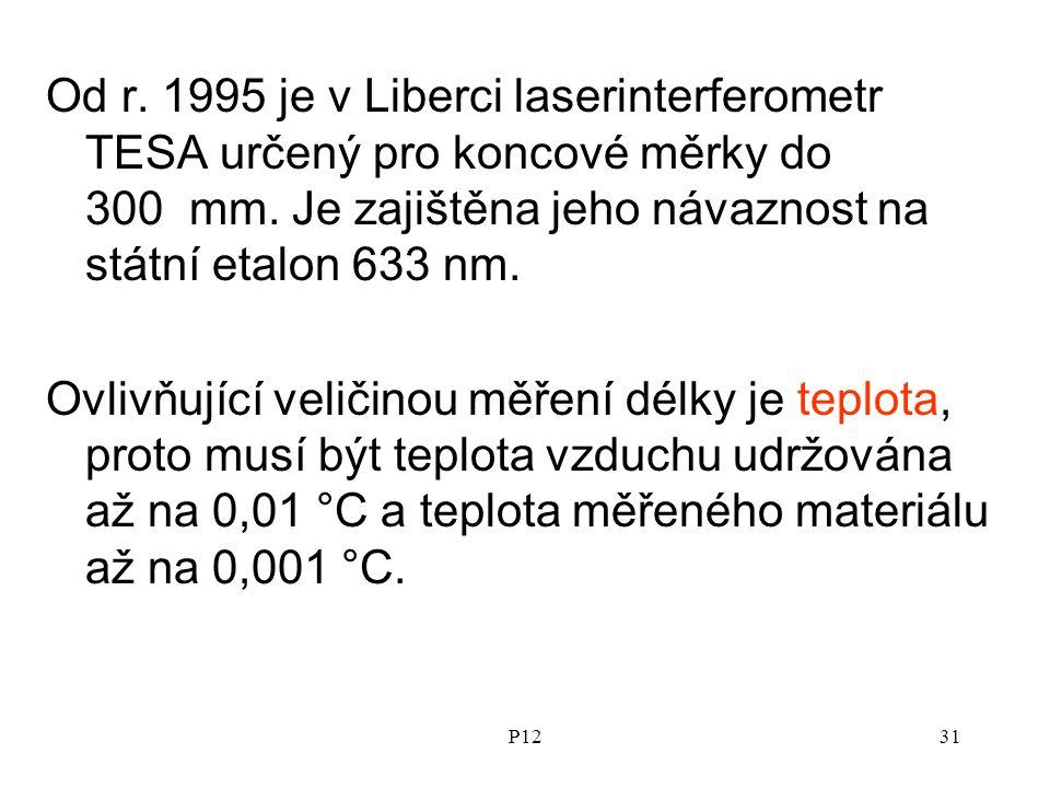 Od r. 1995 je v Liberci laserinterferometr TESA určený pro koncové měrky do 300 mm. Je zajištěna jeho návaznost na státní etalon 633 nm.