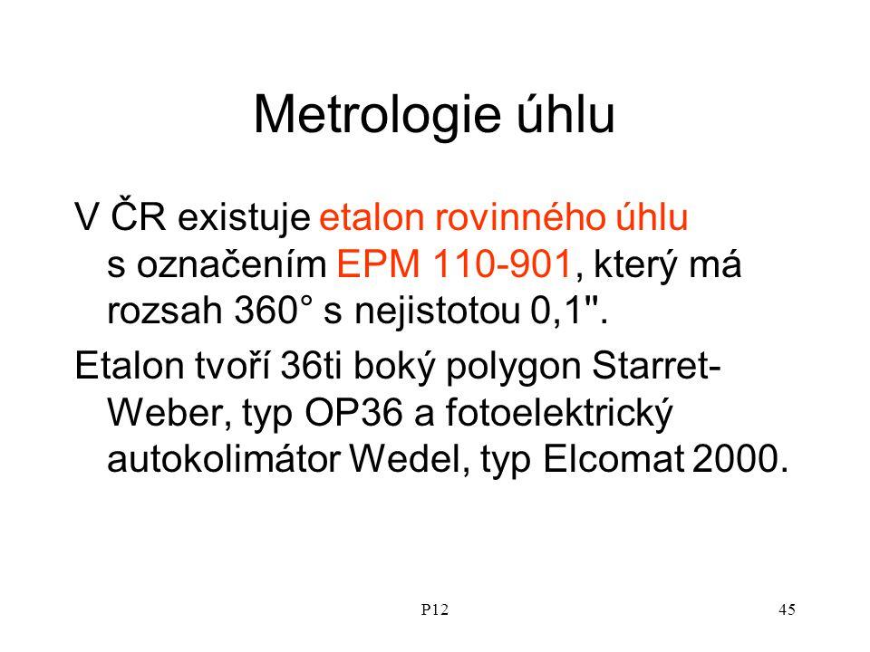 Metrologie úhlu V ČR existuje etalon rovinného úhlu s označením EPM 110-901, který má rozsah 360° s nejistotou 0,1 .