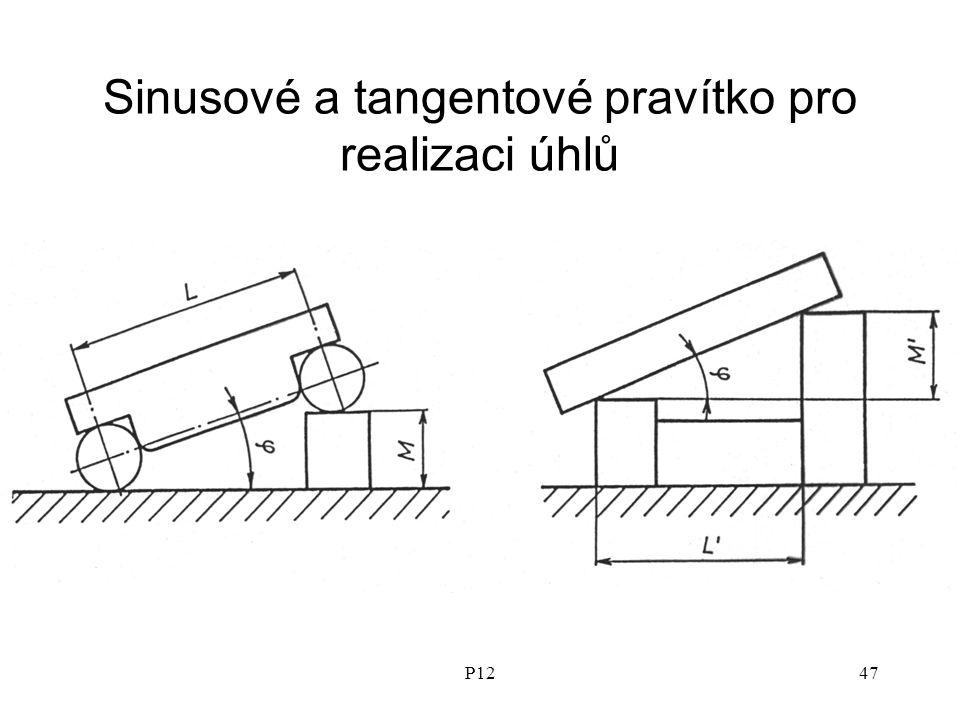Sinusové a tangentové pravítko pro realizaci úhlů