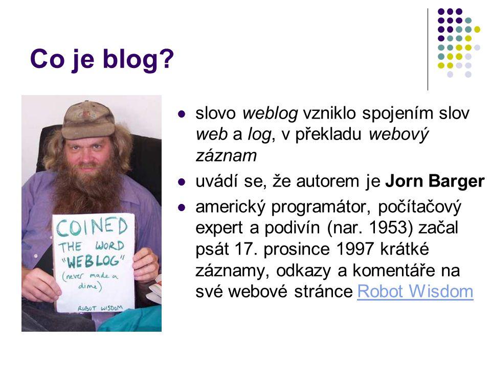 Co je blog slovo weblog vzniklo spojením slov web a log, v překladu webový záznam. uvádí se, že autorem je Jorn Barger.