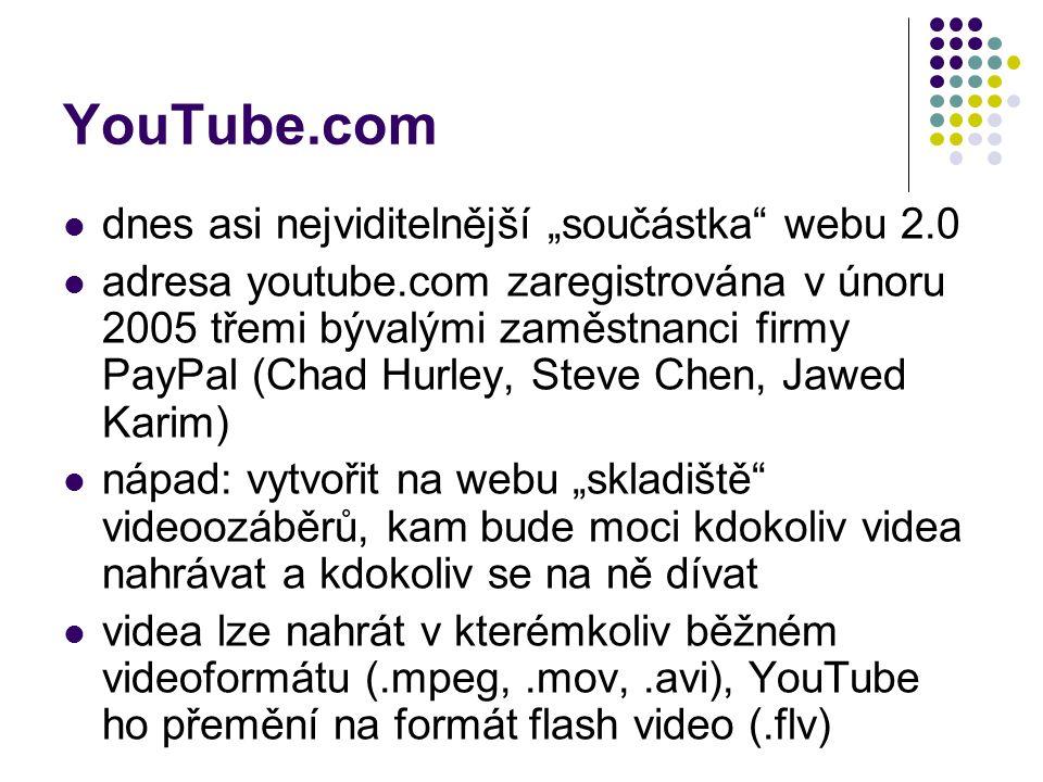 """YouTube.com dnes asi nejviditelnější """"součástka webu 2.0"""
