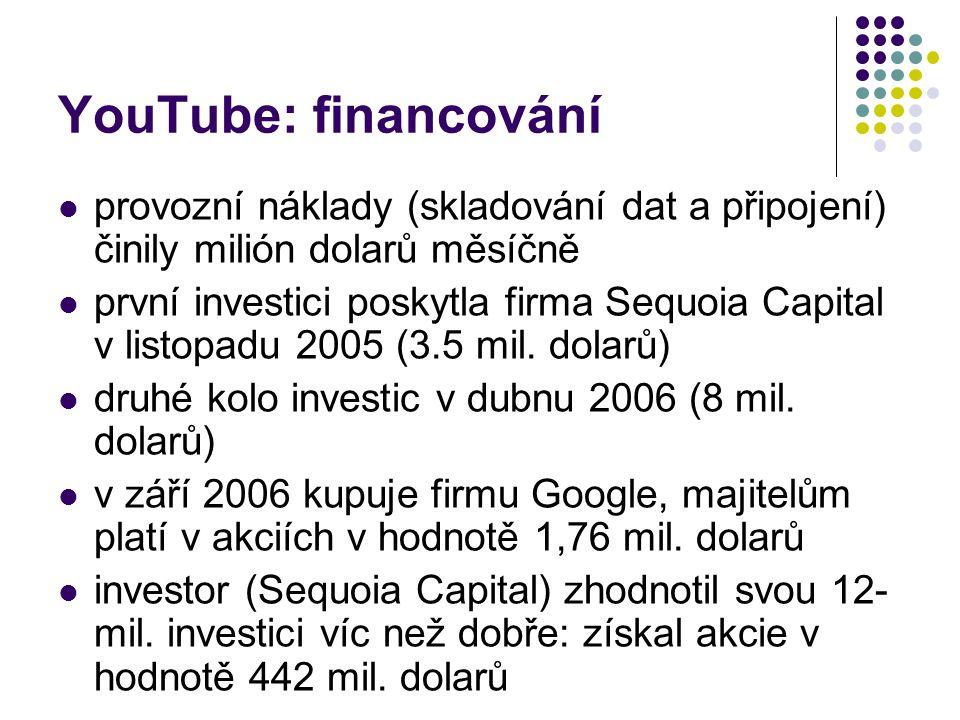 YouTube: financování provozní náklady (skladování dat a připojení) činily milión dolarů měsíčně.