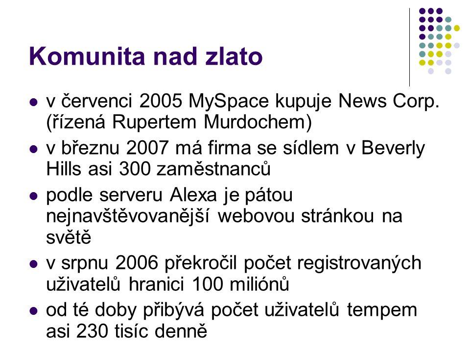 Komunita nad zlato v červenci 2005 MySpace kupuje News Corp. (řízená Rupertem Murdochem)
