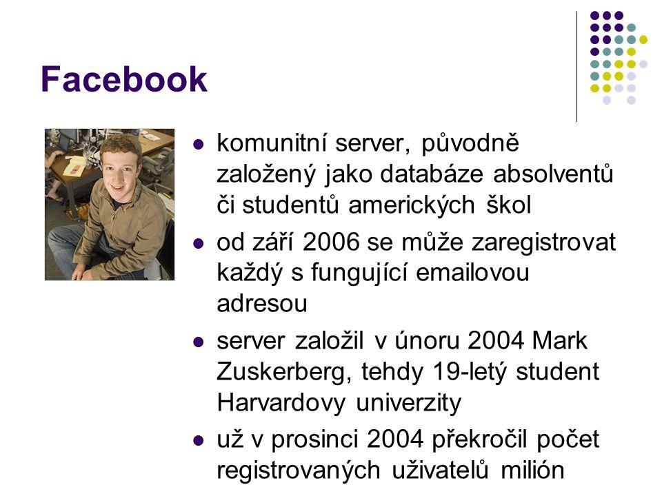 Facebook komunitní server, původně založený jako databáze absolventů či studentů amerických škol.