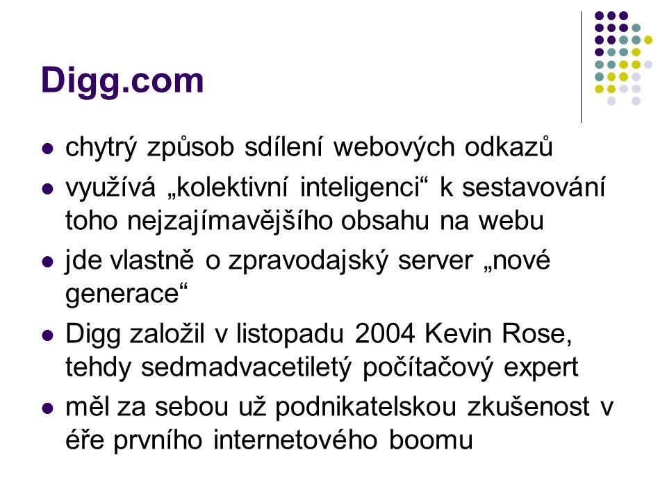 Digg.com chytrý způsob sdílení webových odkazů