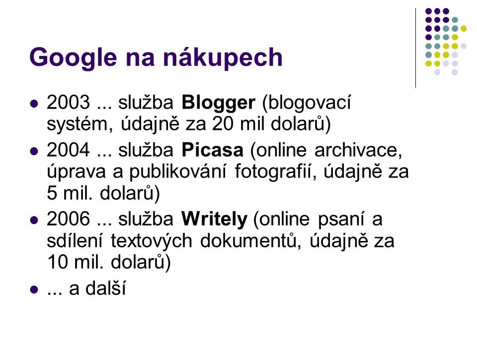 Google na nákupech 2003 ... služba Blogger (blogovací systém, údajně za 20 mil dolarů)