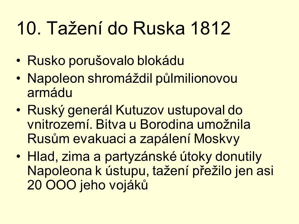 10. Tažení do Ruska 1812 Rusko porušovalo blokádu