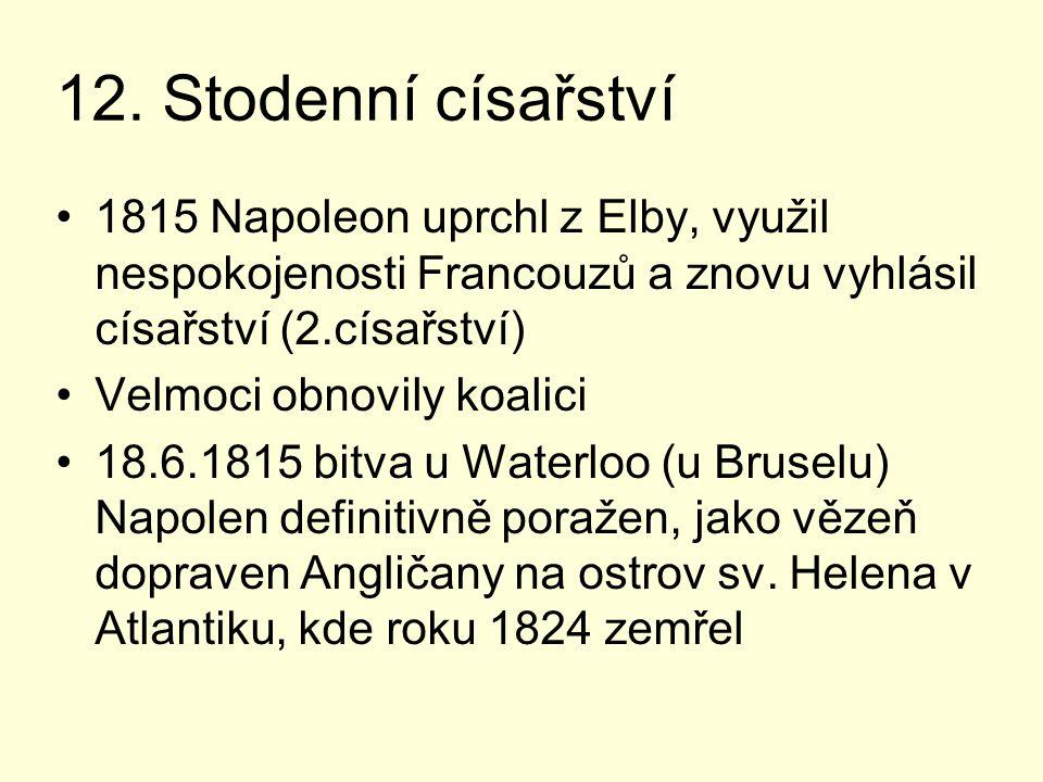 12. Stodenní císařství 1815 Napoleon uprchl z Elby, využil nespokojenosti Francouzů a znovu vyhlásil císařství (2.císařství)