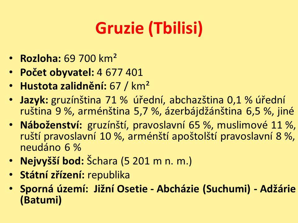 Gruzie (Tbilisi) Rozloha: 69 700 km² Počet obyvatel: 4 677 401