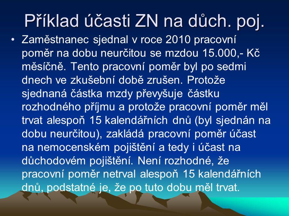 Příklad účasti ZN na důch. poj.