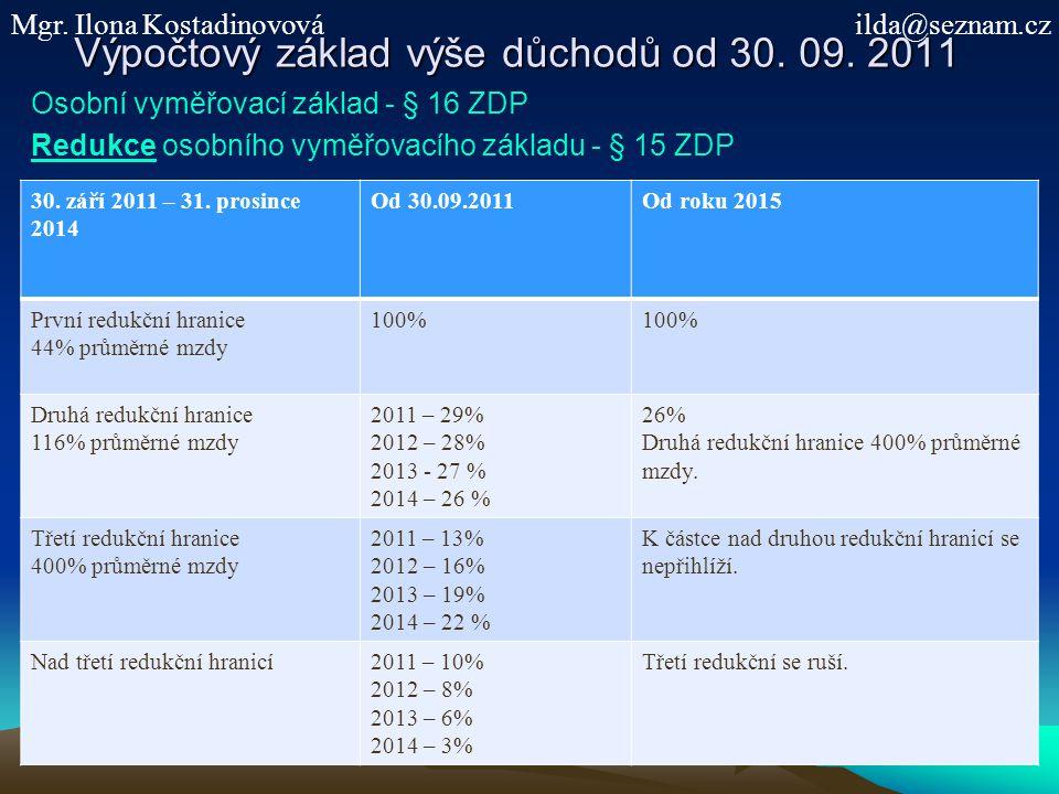 Výpočtový základ výše důchodů od 30. 09. 2011