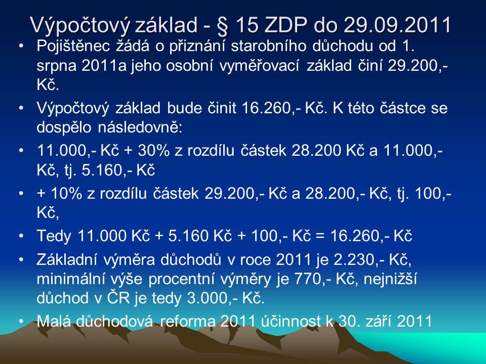 Výpočtový základ - § 15 ZDP do 29.09.2011