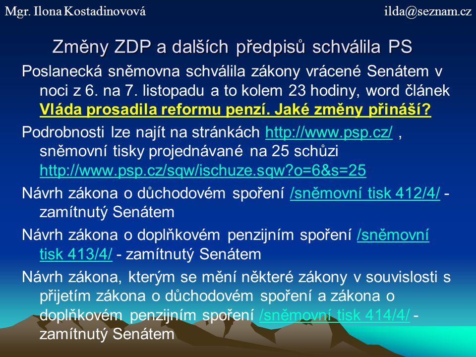 Změny ZDP a dalších předpisů schválila PS