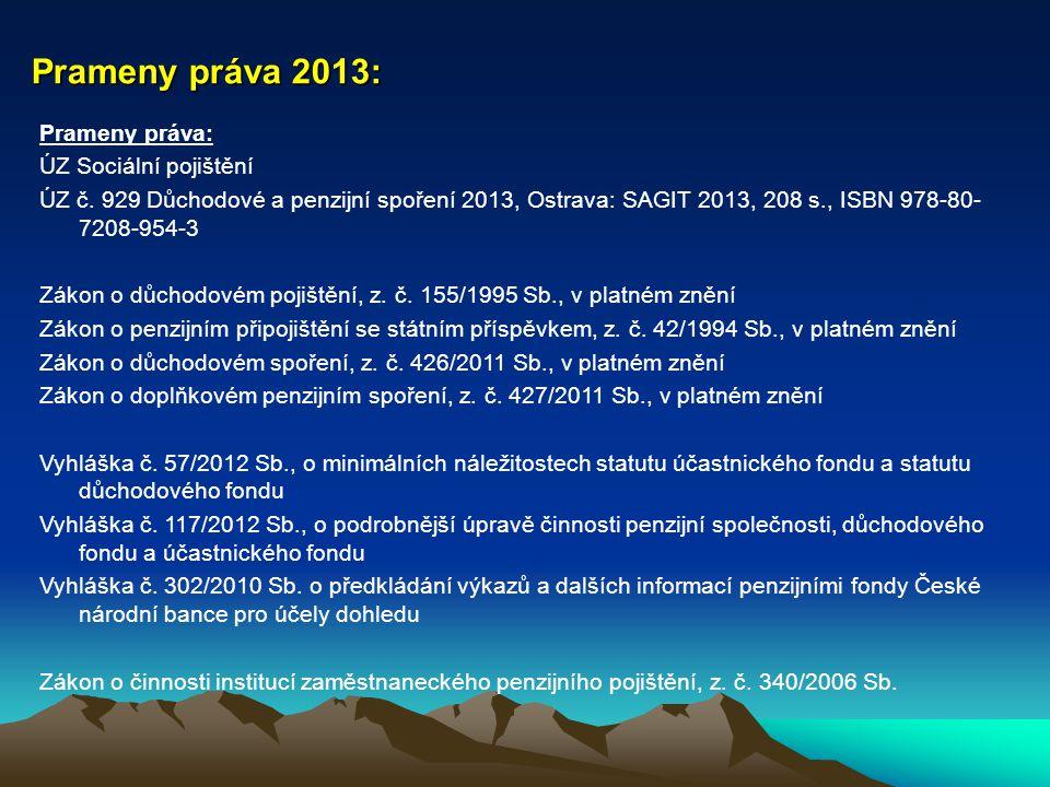 Prameny práva 2013: Prameny práva: ÚZ Sociální pojištění