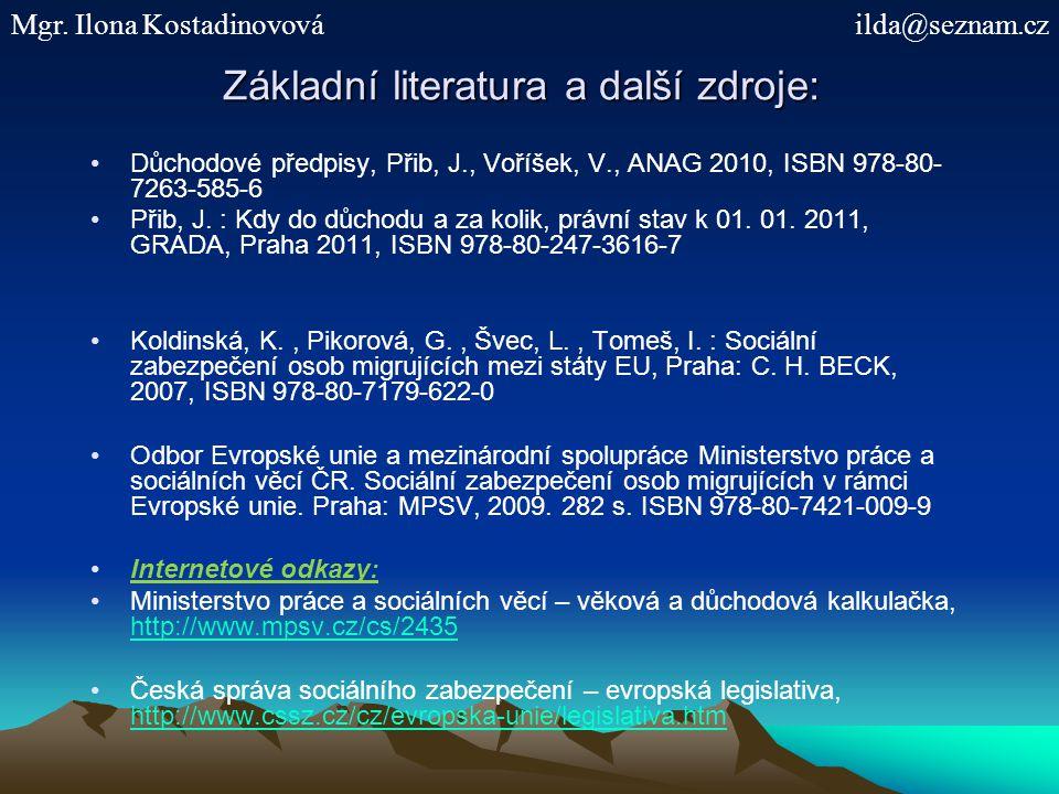 Základní literatura a další zdroje: