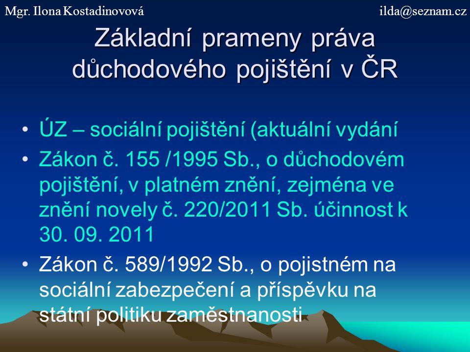 Základní prameny práva důchodového pojištění v ČR