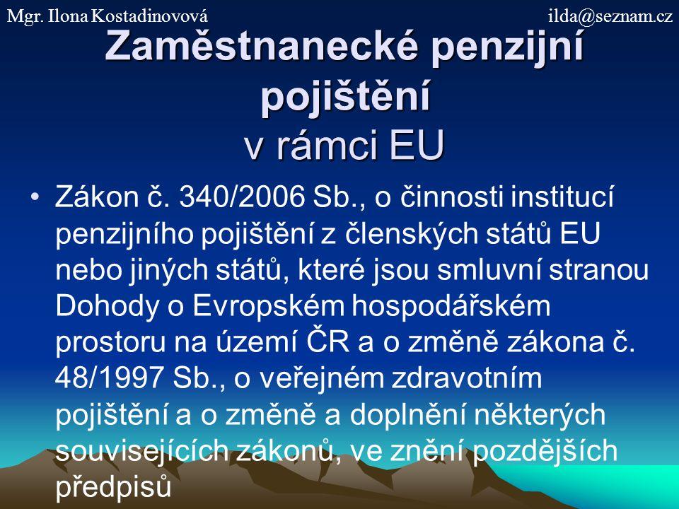 Zaměstnanecké penzijní pojištění v rámci EU