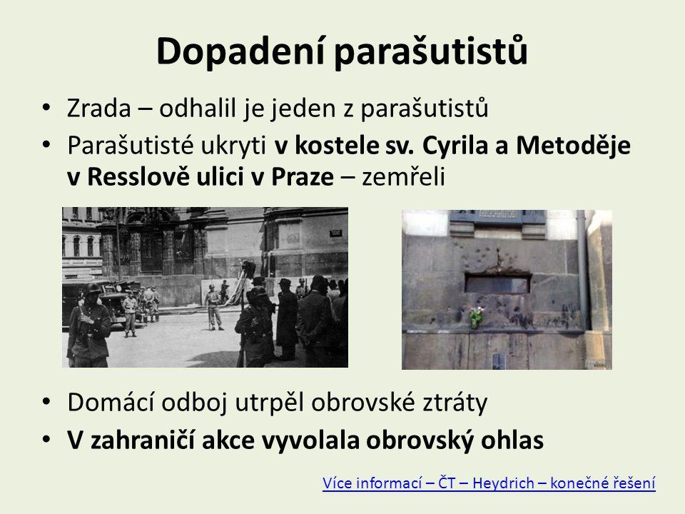Dopadení parašutistů Zrada – odhalil je jeden z parašutistů