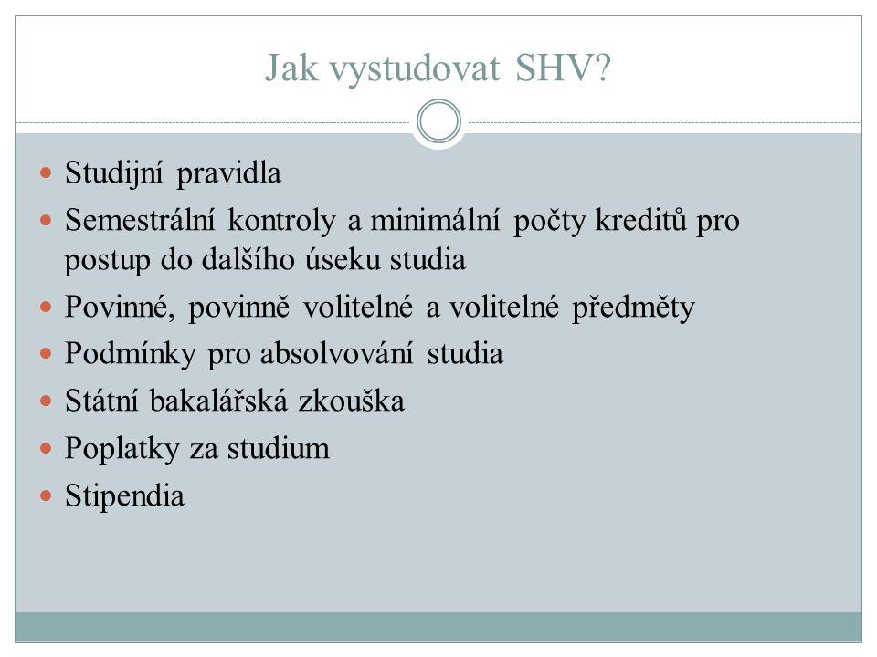 Jak vystudovat SHV Studijní pravidla