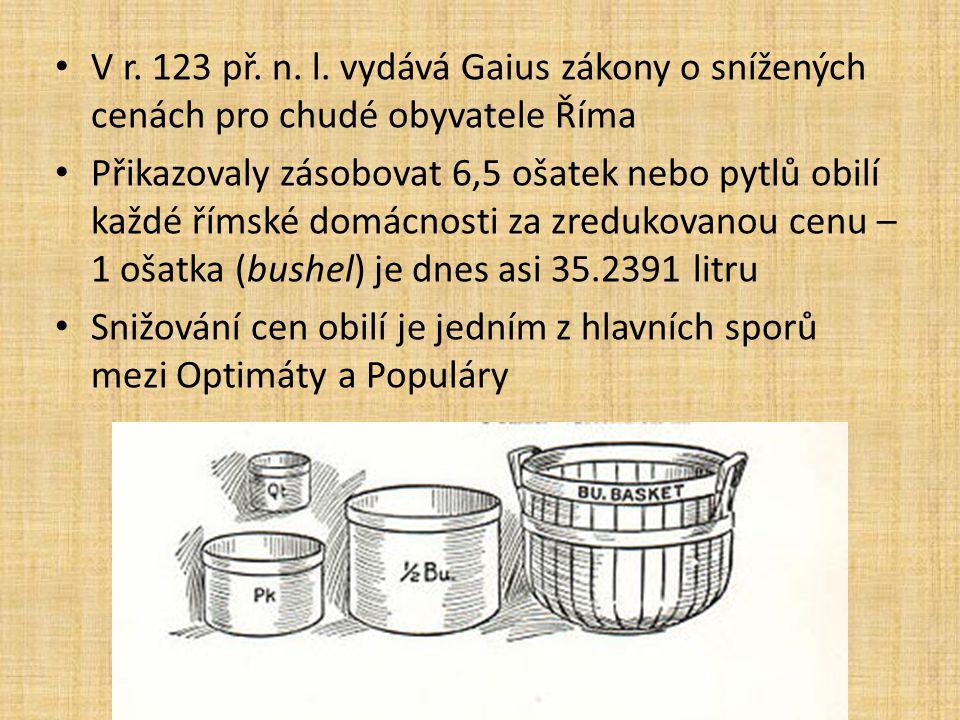 V r. 123 př. n. l. vydává Gaius zákony o snížených cenách pro chudé obyvatele Říma