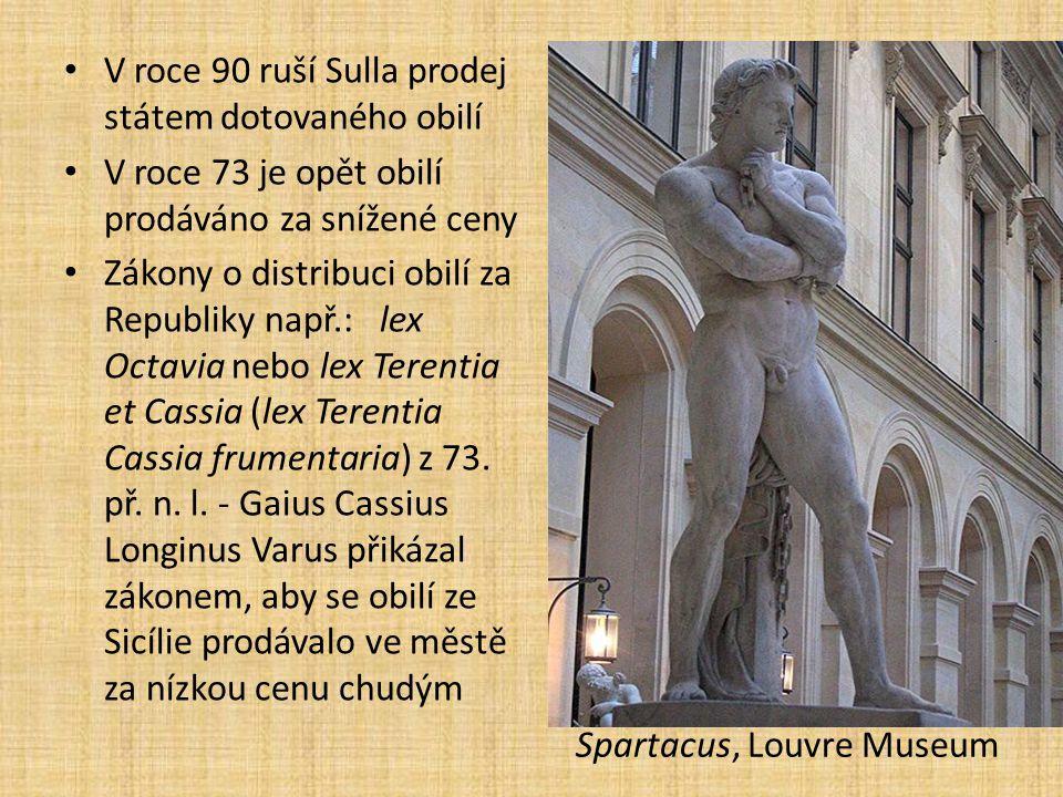 V roce 90 ruší Sulla prodej státem dotovaného obilí