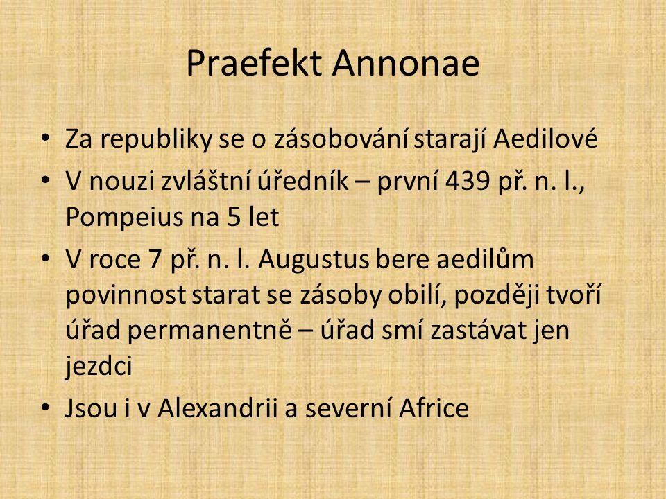 Praefekt Annonae Za republiky se o zásobování starají Aedilové