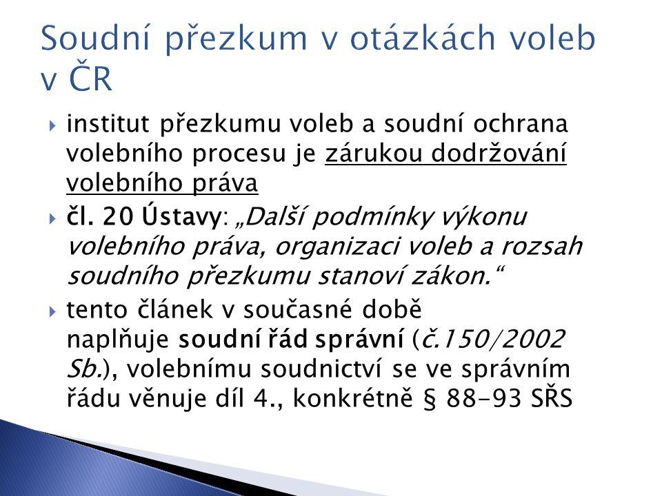 Soudní přezkum v otázkách voleb v ČR