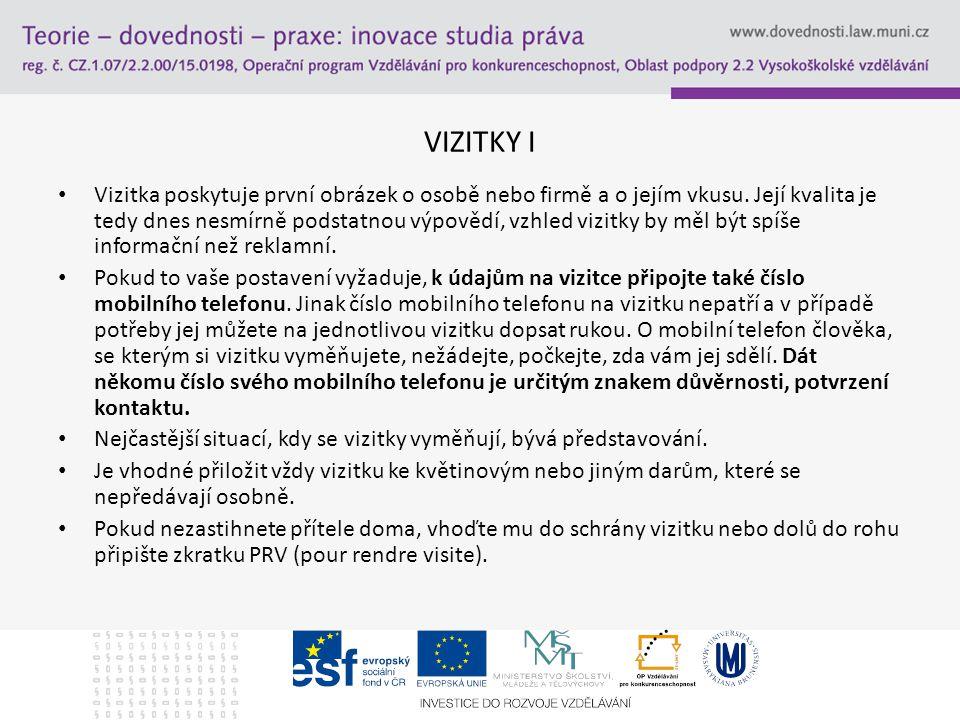 VIZITKY I