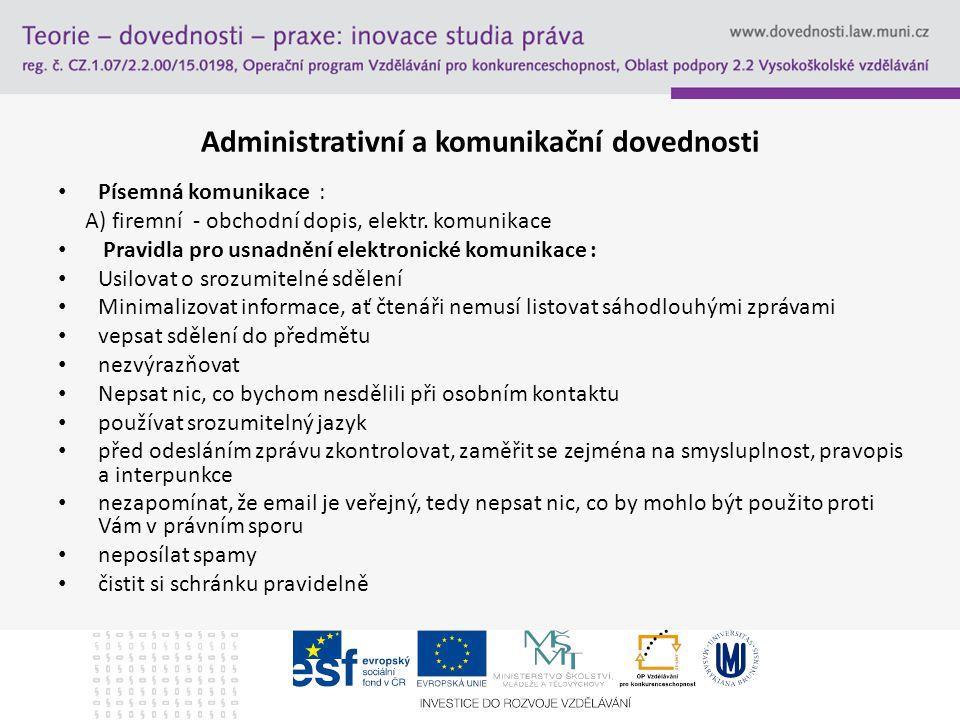 Administrativní a komunikační dovednosti