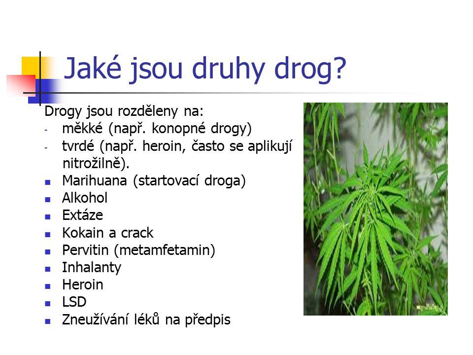 Jaké jsou druhy drog Drogy jsou rozděleny na: