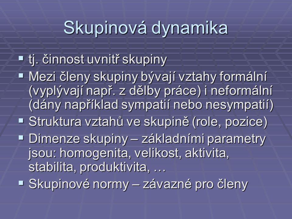 Skupinová dynamika tj. činnost uvnitř skupiny