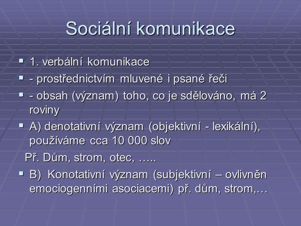 Sociální komunikace 1. verbální komunikace