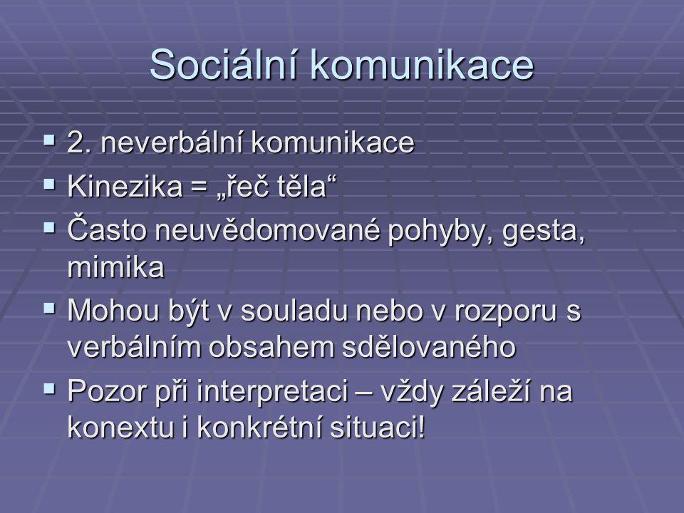 """Sociální komunikace 2. neverbální komunikace Kinezika = """"řeč těla"""