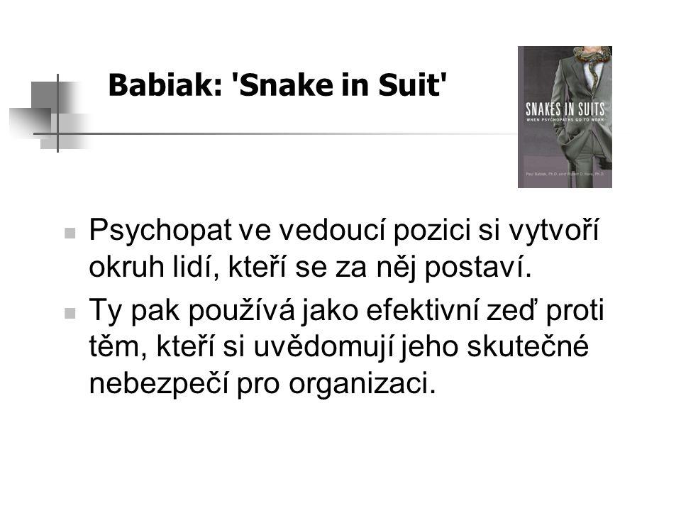 Babiak: Snake in Suit Psychopat ve vedoucí pozici si vytvoří okruh lidí, kteří se za něj postaví.