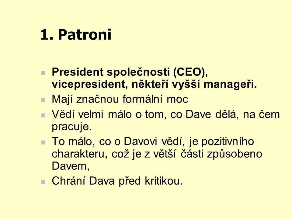 1. Patroni President společnosti (CEO), vicepresident, někteří vyšší manageři. Mají značnou formální moc.