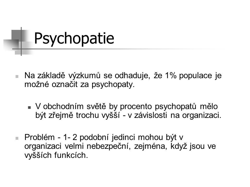 Psychopatie Na základě výzkumů se odhaduje, že 1% populace je možné označit za psychopaty.