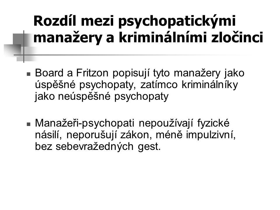 Rozdíl mezi psychopatickými manažery a kriminálními zločinci