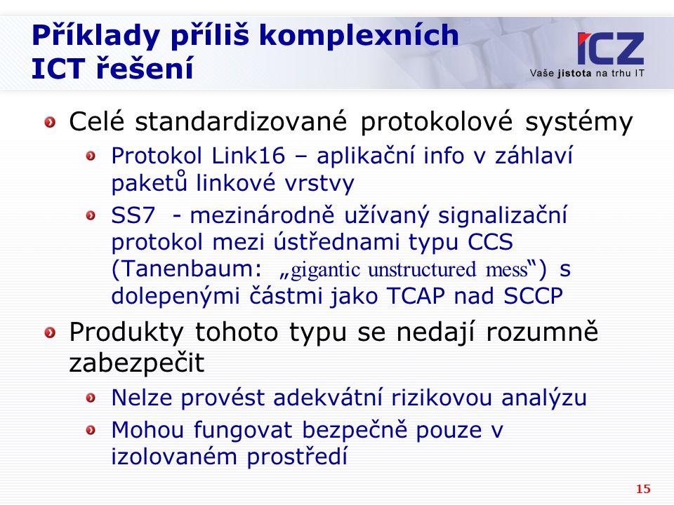 Příklady příliš komplexních ICT řešení