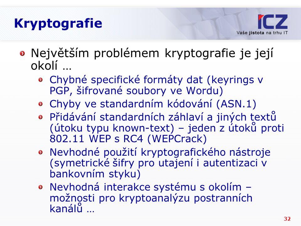 Kryptografie Největším problémem kryptografie je její okolí …